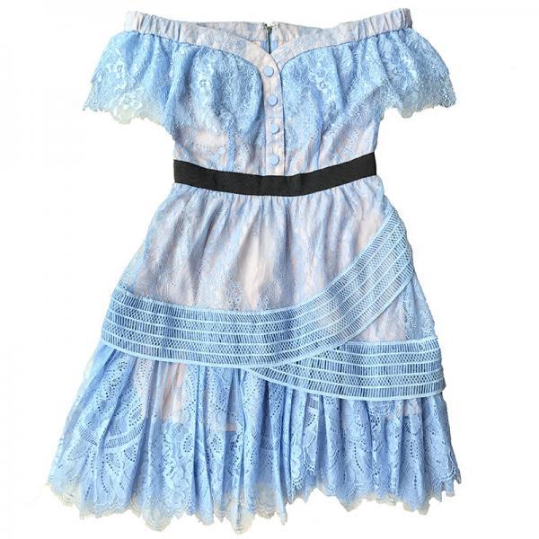 夏装女装古力娜扎明星同款一字领露肩蓝色蕾丝修身显瘦连衣裙礼服